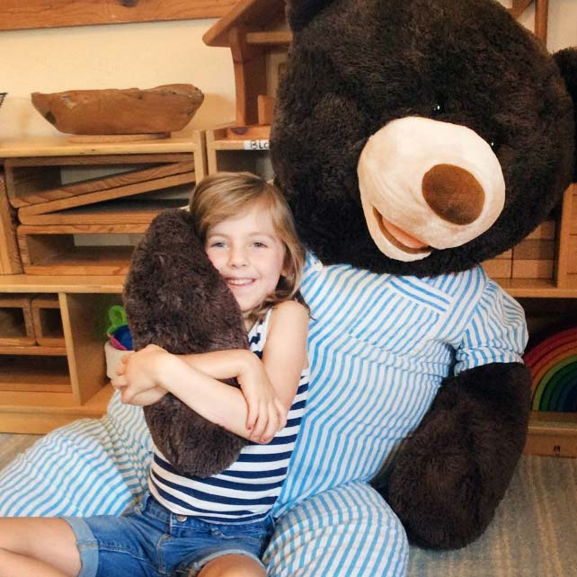 kindergartener with bear