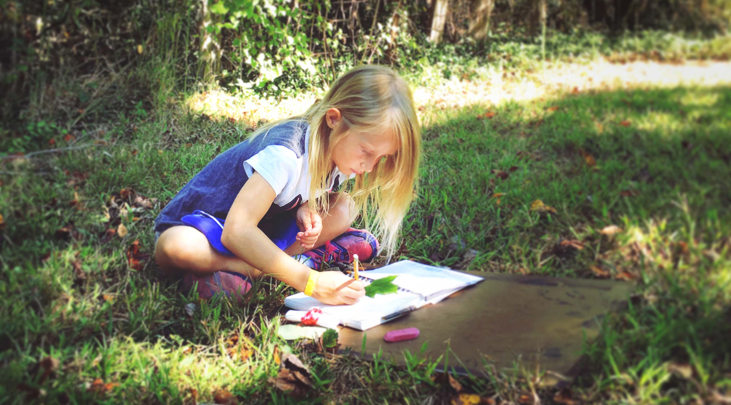 Girl works in her nature study workbook under the trees